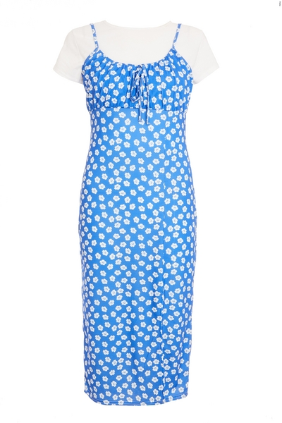 Petite Blue Floral Bodycon Midi Dress